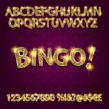 bingo Alfabeto d'ardore dorato Immagini Stock