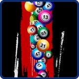 Bingo-Bälle auf schwarzem und rotem Hintergrund Stockfotos