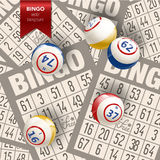 Bingo Background with Balls and Cards. Vector Illustration. Royalty Free Stock Photography