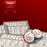 Bingo Background with Balls and Cards. Vector Illustration. Royalty Free Stock Image