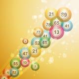 Bingo ball border. 3D bingo balls shooting across a gold background with sparkles Royalty Free Stock Photos