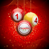 Bingo ball Christmas background red Royalty Free Stock Photo