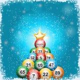 Bingo ball Christmas tree background Royalty Free Stock Photos