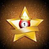 Bingo ball crown over gold star with banner Stock Photos