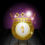 Bingo ball with crown reflected on a tiled floor. Crowned bingo ball reflected on a tiled floor Royalty Free Stock Photography