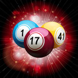 Bingo ball explosion on red Stock Photography