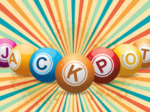 Bingo ball jackpot on retro starburst Royalty Free Stock Photos