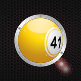Bingo ball on metallic frame background Stock Photo