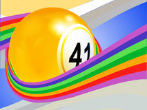 Bingo ball wrapped on a curved rainbow Stock Photo