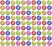 Bingo Balls. Full set of 90 illustrated bingo balls vector illustration