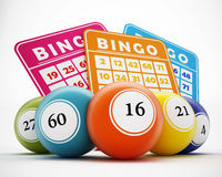 Bingo Balls And Cards. 3D Illustration Stock Images