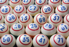 Bingo Balls. Assorted Bingo Balls in rows Stock Photography