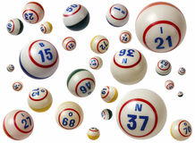 Bingo Balls. Assortment of used bingo balls isolated on white background Royalty Free Stock Image
