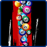 Bingo Balls on black and red background Stock Photos