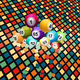 Bingo balls breaking a colored tiles background Royalty Free Stock Images