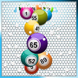 Bingo balls breaking a white 3D circular tiles wall. Bingo Balls Breaking 3D White Button Wall Background Stock Image