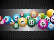 Bingo Balls on brushed metallic panel Stock Photo