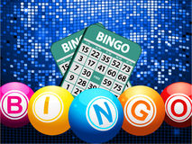 Bingo balls and cards on blue mosaic background Stock Images