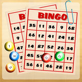 Bingo balls and cards Stock Photo