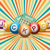 Bingo balls and cards on retro starburst Royalty Free Stock Image
