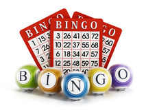Bingo balls and cards Royalty Free Stock Photo