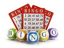 Bingo balls and cards. On white background Royalty Free Stock Photo