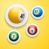 Bingo balls on circular white frames Stock Images
