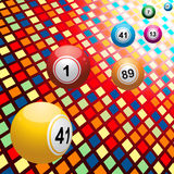Bingo balls on coloured 3D mosaic background. Bingo Balls over 3D Multicolor Mosaic Background Stock Photo