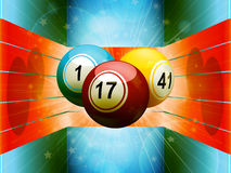 Bingo balls in colourful 3D environment. Bingo Balls Floating on Blue 3D Environment with Red Stripes Stock Image