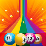 Bingo balls coming out from a rainbow Stock Photography