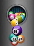 Bingo balls falling from a metallic ring background Stock Images