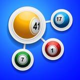 Bingo balls on frames over blue background. Four 3D Bingo Balls on White Frame Over Blue Background Stock Photo