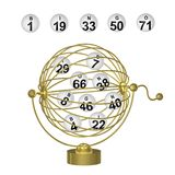 Bingo Balls in Gold Cage Royalty Free Stock Photos