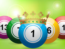 Bingo balls on green background Royalty Free Stock Image