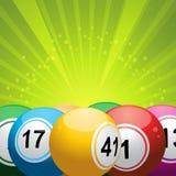 Bingo balls on green starburst. 3D bingo balls in front of a bright green starburst Stock Photo