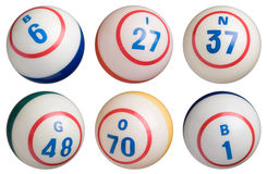 6 Bingo Balls. Isolated on white background. Each ball is approximately 950 pixels in diameter Royalty Free Stock Images