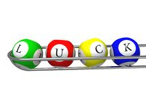 Bingo balls with luck text Stock Photo