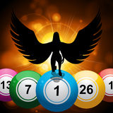 Bingo balls and lucky angel on star burst gold background Stock Photos