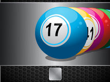 Bingo Balls on metallic panel and button Royalty Free Stock Images