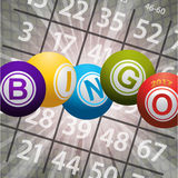 Bingo balls 2017 and numbers on abstract background Stock Photo