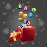 Bingo balls out of festive gift box Stock Photos