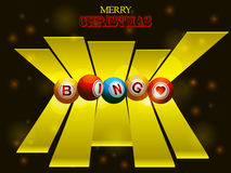 Bingo balls over festive background and 3D stripes. Bingo Balls Over 3D Stripes and Merry Christmas Text on Glowing Background Stock Image