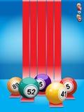 Bingo balls over red stripes Stock Photo
