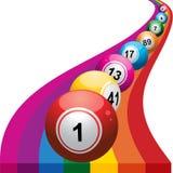 Bingo balls on rainbow background Stock Image
