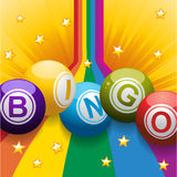 Bingo balls on rainbow and stars Stock Photography