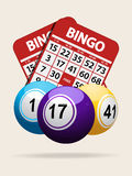 Bingo balls and red cards with shadow Stock Images