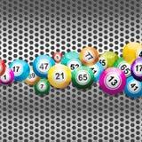 Bingo Balls on silver metallic mesh. Bingo Balls on a Silver 3D Metallic Background Stock Photos