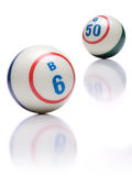 Bingo Balls. On white with reflection Royalty Free Stock Images