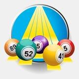 Bingo balls on yellow stripes border. 3D Illustration of Bingo Balls Over Yellow Stripes Coming Out From Metallic Border Royalty Free Stock Image