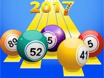 Bingo balls 2017 on yellow stripes Stock Photography